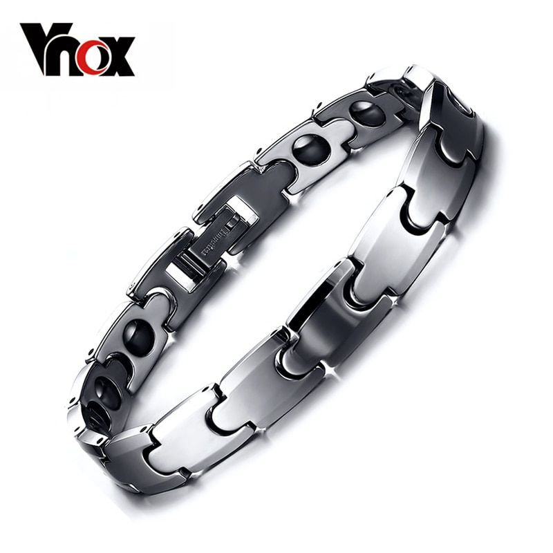 Vnox 100% Tungsten Chain Bracelet Bangle for Men Hematite Magnetic <font><b>Health</b></font> Care Male Jewelry free Box