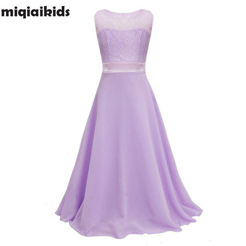 Détail dentelle fleur fille robe enfants enfants belle robe de soirée de mariage fille formelle fête Pageant longue robe de princesse lace002