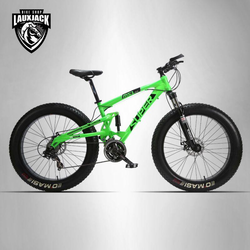 SUPER Mountain Fat Bike Full Suspension Alluminium Frame 24 Speed Shimano Mechanic Brake 26x4.0 Wheel