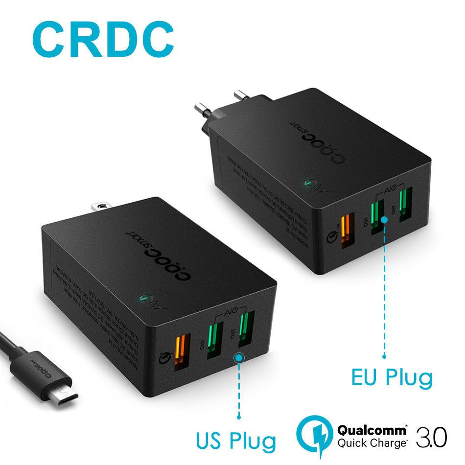 CRDC USB Charger Quick Charge 3.0 Fast Wall Charger Smart IC QC 2.0 Compatible For iPhone Xiaomi Samsung LG G5 &More
