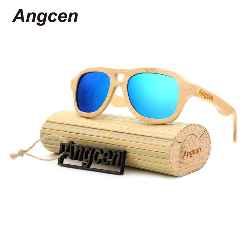 Angcen Новинка 2017 года модные товары Для мужчин Для женщин Bamboo Солнцезащитные очки для женщин Поляризованные линзы деревянного Рамки ручной р...