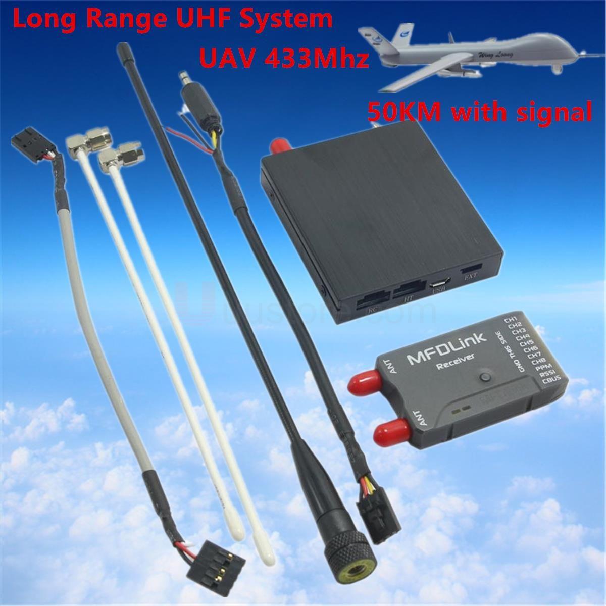 50 KM Long Range MFDLink Rlink 433 Mhz 16CH 1 Watt RC FPV UHF System Sender w/8 Kanal Receiver TX + RX Set Für hohe fpv qualität
