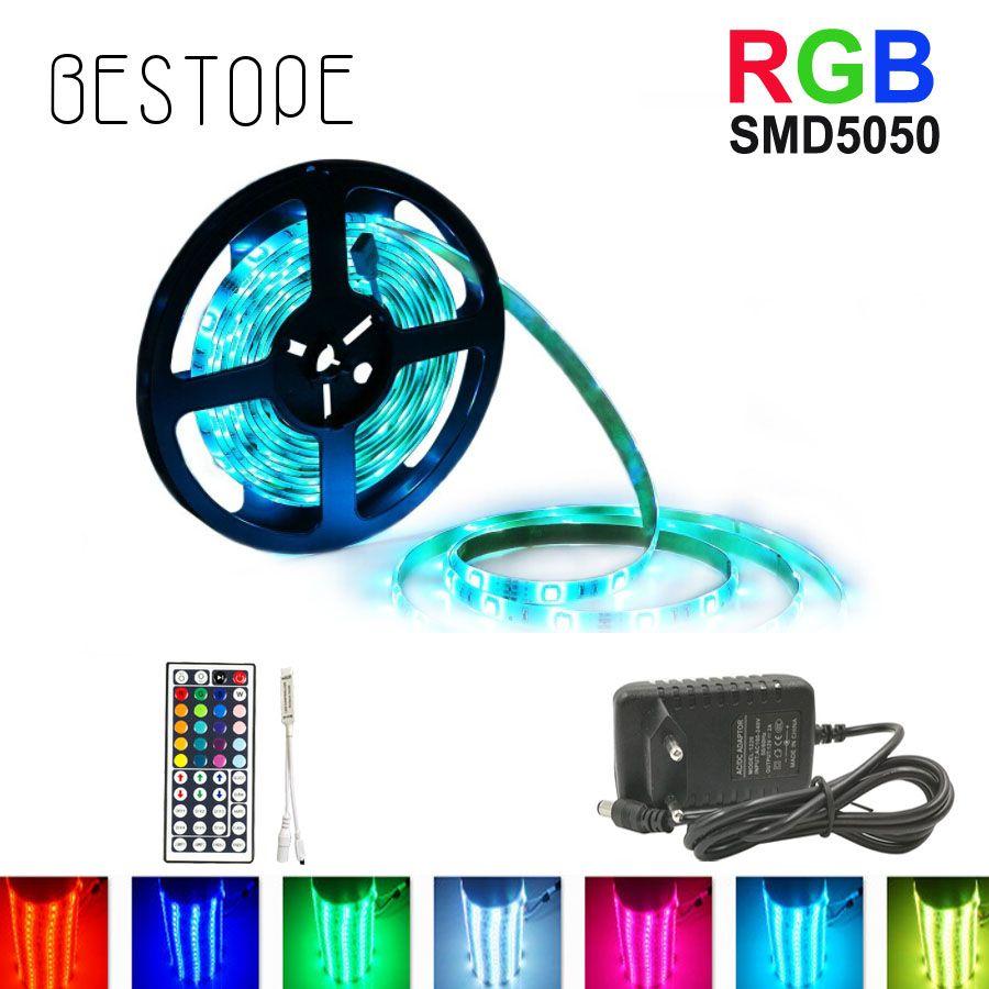 5 M 10 M SMD 5050 RGB led Bande 15 M lumière led Étanche Ruban DC 12 V Ruban RGB Flexible bande lumineuse évantail complet avec Adaptateur