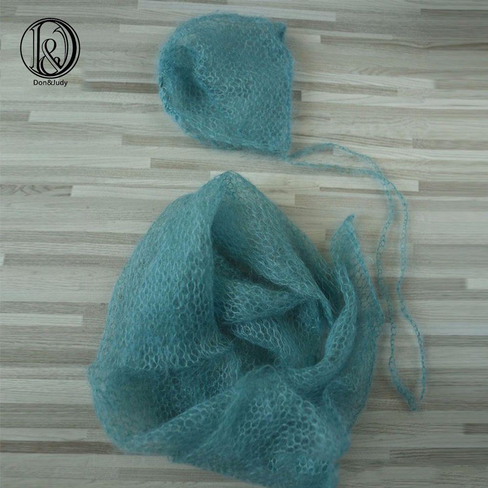 Handknit Stretch doux importation petit Mohair nouveau-né enveloppes avec chapeau ensemble 60x30cm nouveau-né photographie accessoires bébé douche cadeau