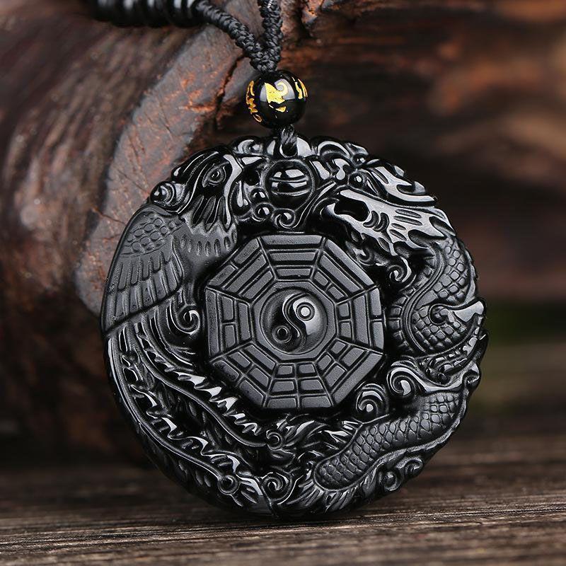 Naturel Noir Obsidienne Sculpté À La Main Chinois Dragon Phoenix BaGua Chanceux Amulette Pendentif Collier De Mode Bijoux En Gros