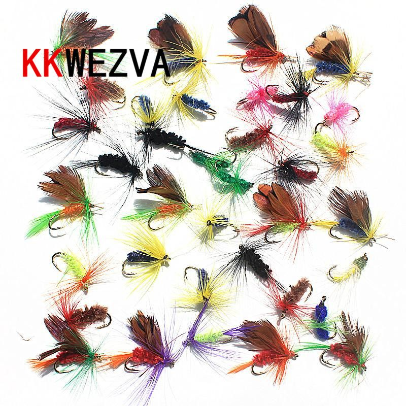 KKWEZVA 36pcs Insect Fly Fishing Lure Artificial Fishing Bait Feather Single Treble Hooks Carp Fish Lure Water surface