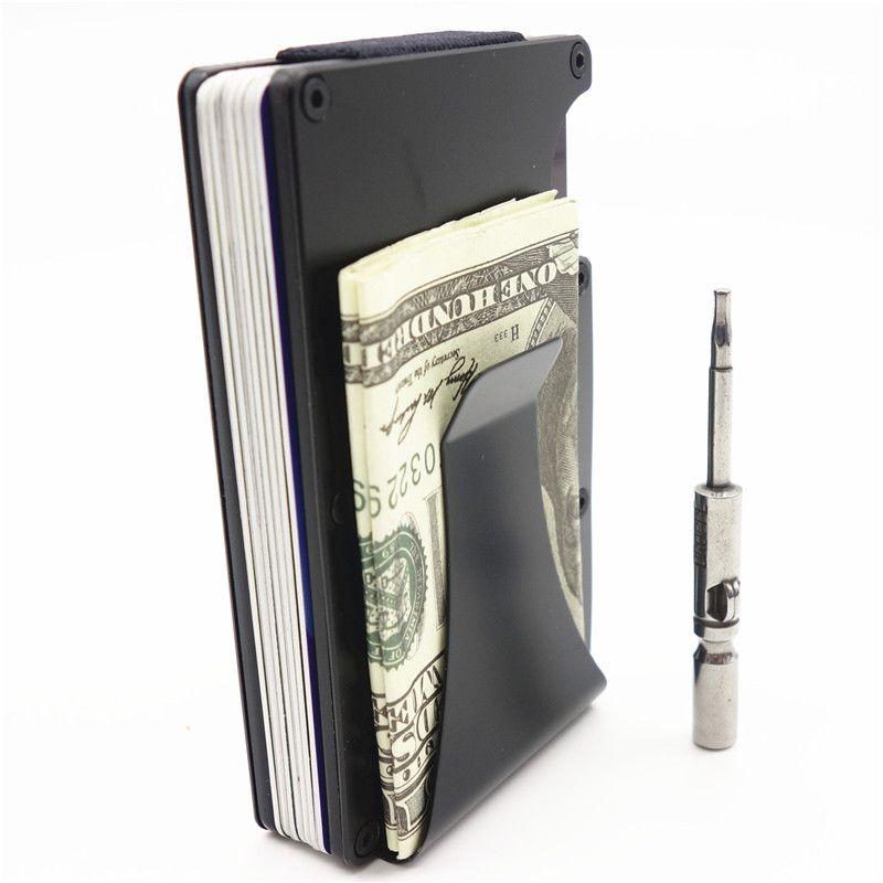 Металлический держатель кредитной карты Путешествия Мини RFID кошелек Для мужчин визитница порте карт мужской зажим для денег