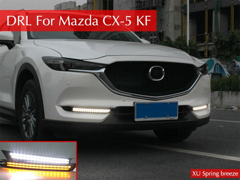 Car Turn Signal Style DRL Daytime Running Lights With Fog Lamp Hole Car Styling For Mazda CX-5 CX5 KF 2017 2018
