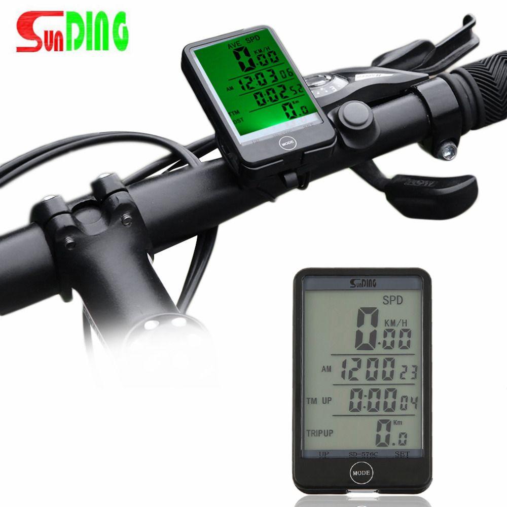 Sunding 29 Funktionen Wireless Radfahren Hintergrundlicht-zyklus-fahrrad-computer-geschwindigkeitsmesser Stoppuhr Mit Batterie freies verschiffen