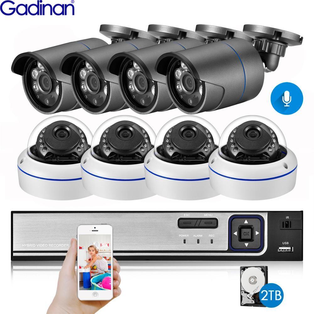 Gadinan 8CH 4MP POE Sicherheit Kamera System Kit H.265 4MP Audio IP Kamera IR Im Freien Wasserdichte CCTV Video Überwachung NVR set
