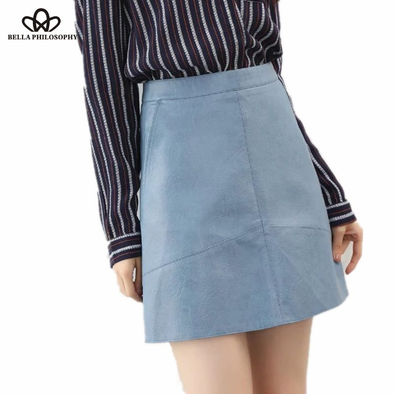 Bella Philosophy <font><b>2018</b></font> spring high waist Skrit PU faux leather women skirt pink yellow black green blue zipper mini skirt women