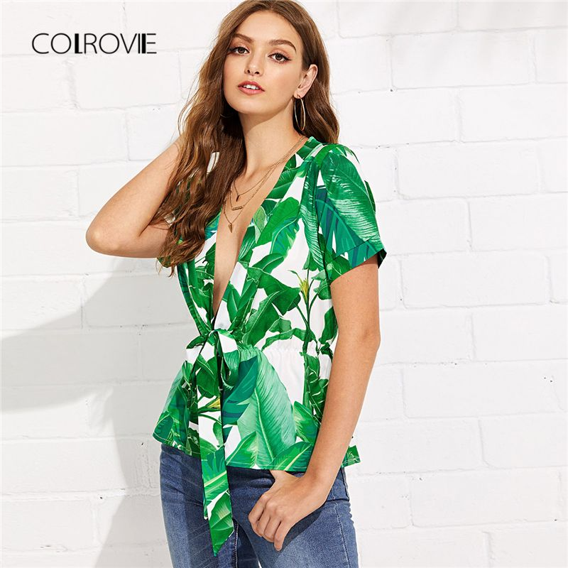 COLROVIE Self Tie Front Tropical Print Blouse Shirt 2018 New Summer Deep V Neck Top <font><b>Green</b></font> Short Sleeve Leaf Sexy Women Blouse