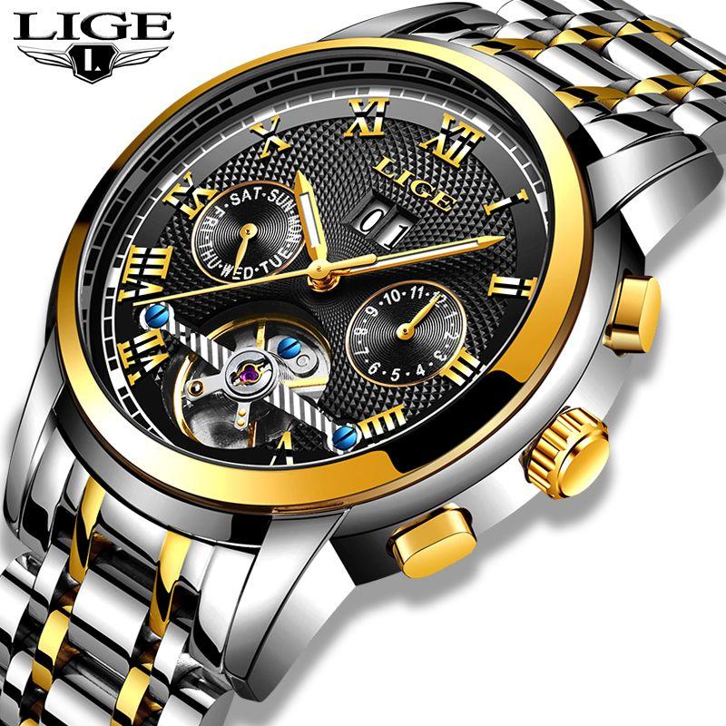 LIGE Neue herren Uhr Sport Wasserdichte Automatische Mechanische Uhr Edelstahl Hohl Automatische Handgelenk Uhren Horloges Mannen