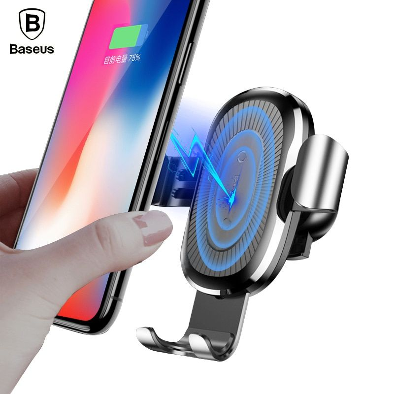 Baseus Car Holder For iPhone X 8 Qi Wireless Charger Quick <font><b>Charge</b></font> For Samsung S9 S8 Phone Holder Stand Fast Wireless Charging