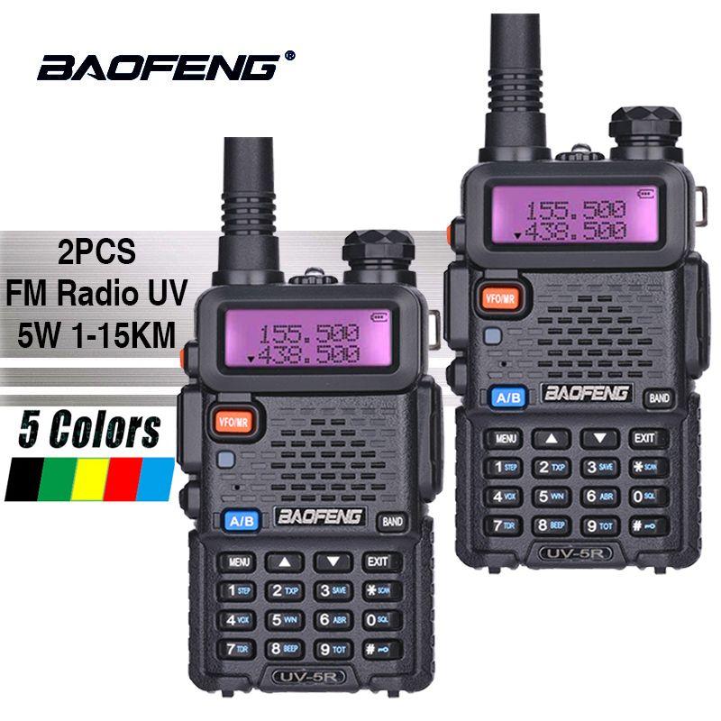 2PCS Baofeng UV-5R Hot Sale Walkie Talkie 5W Vhf Uhf Dual Band Portable Woki Toki UV5R Pofung CB Ham Radio Station Baofeng UV 5R