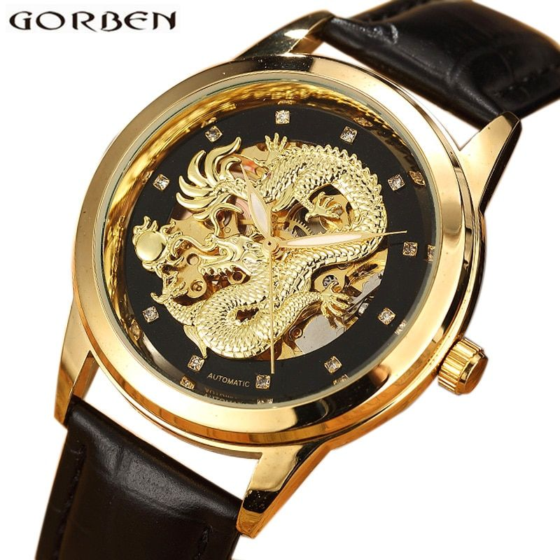 Gold Delicate Carved Dragon Automatic Skeleton Watch Men Black Leather Strap Chinese Mechanical Male Wrist Watch Luxury Luminous