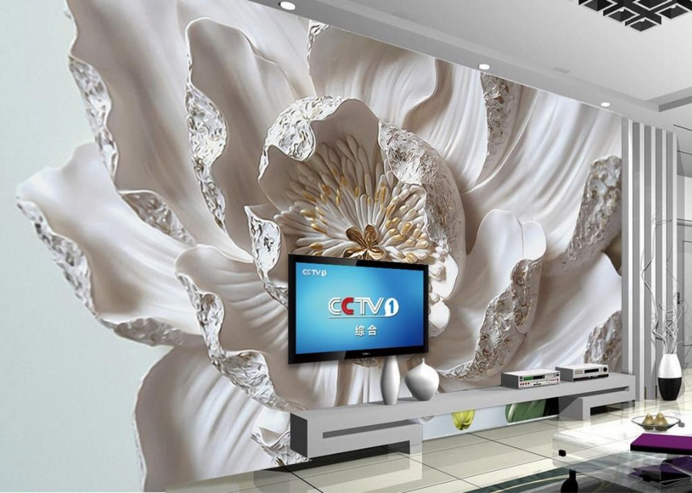 Large Decorative Painting flowers 3d Mural Wallpaper For Bedroom Living Room Sofa Relief TV Background Wall