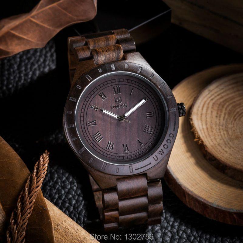 2018 New Natural Black Sandal Wood Analog Watch UWOOD Japan MIYOTA Quartz Movement Wooden Watches Dress Wristwatch For Unisex