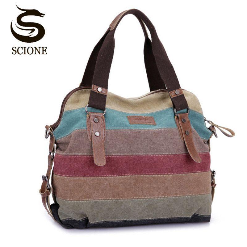 Célèbre marque femmes toile sacs à bandoulière mode Messenger sacs décontracté sac de plage rayé Shopping fourre-tout sac à main Bolsos Mujer