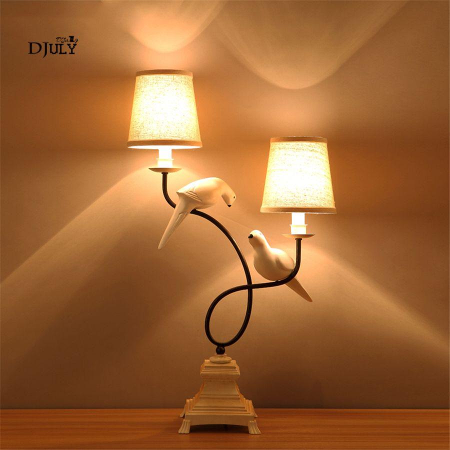 Art Deco Doppel Stoff Lampenschirm Vogel Tisch Lampe für Büro Studie Schreibtisch Dekoration led Schlafzimmer nacht Lampe Make-Up Tisch Lichter