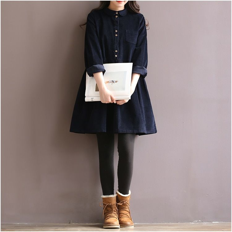 Japanese Korean Style College School Corduroy Green Dress Lady Long Sleeve Sweet Retro 2018 Fashion Dress Women's Winter Midi