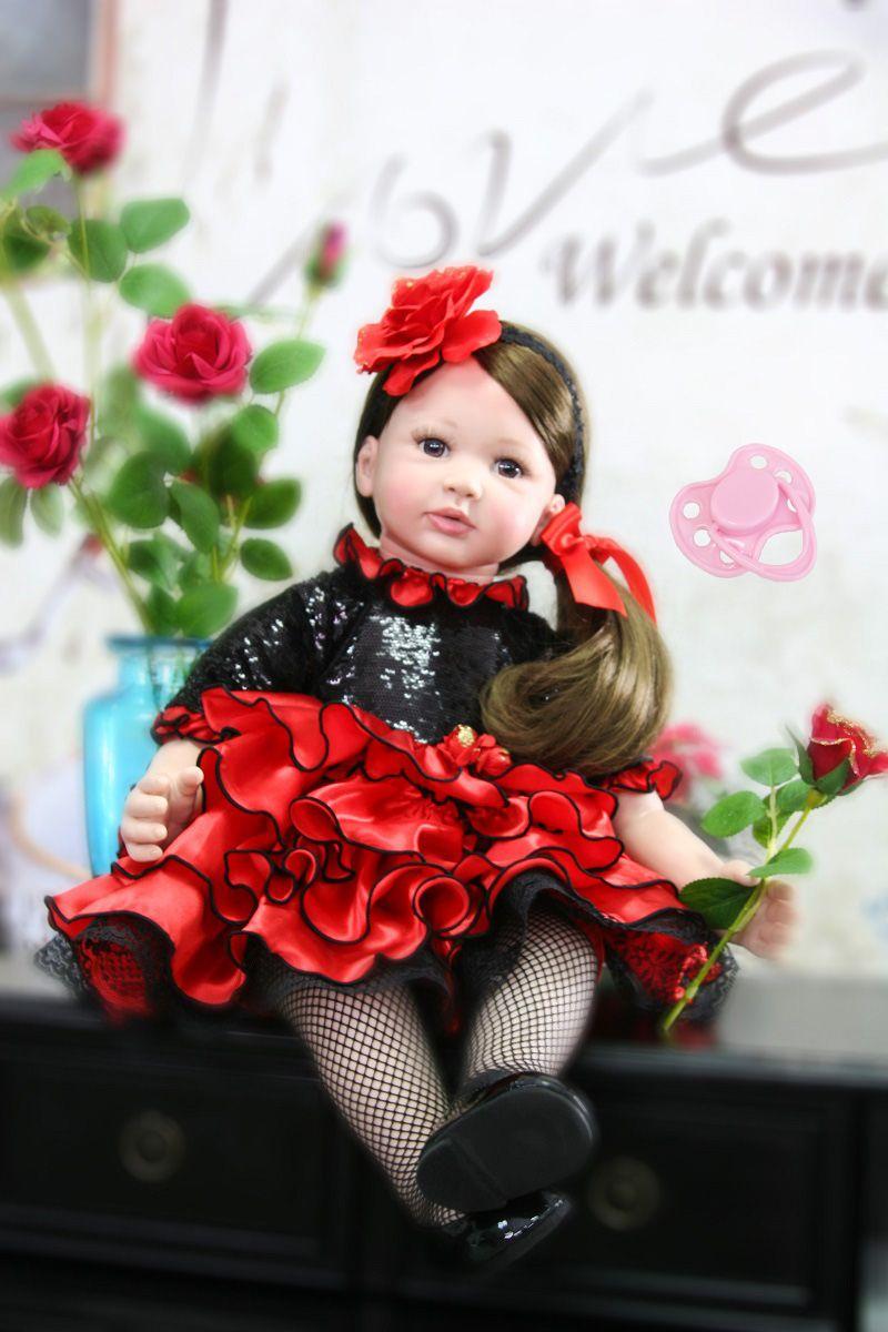 60cm Silicone Reborn Baby Girl Doll Toys For Children 24inch Vinyl Toddler Princess Babies Dolls Lovely Kids Birthday Gift Play