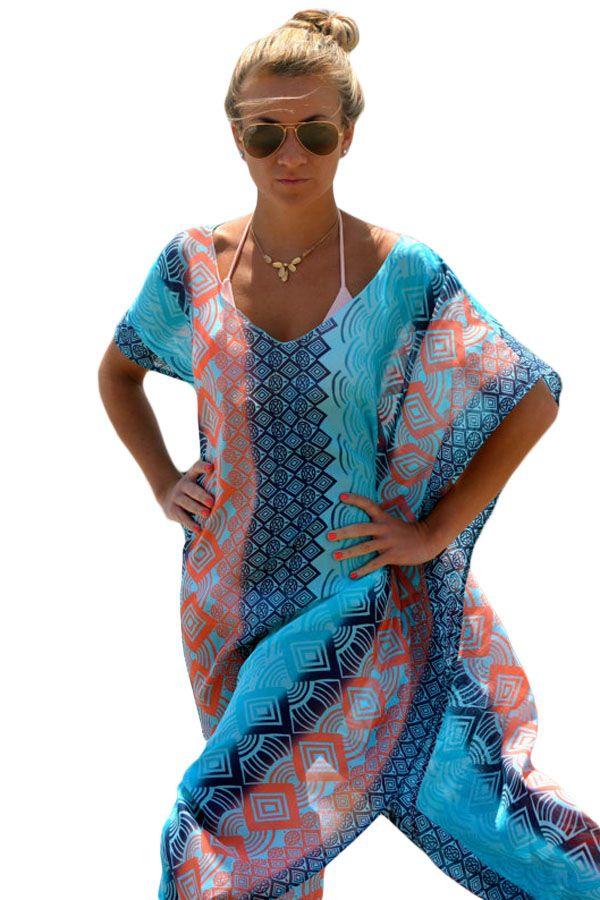 Neue 2018 Long Beach Kaftan Kleid Damen Vintage Print Grafik Miami Bikini Vertuschen Tuniken Beachwear S41542