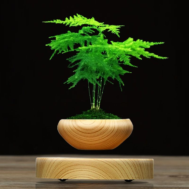 Hot sale ABS Magnetic Suspended Plant Pot Grain Round LED Levitating Indoor Air Floating Pot for Home Office Decoration No Plant