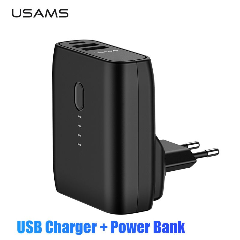USAMS EU/UNS Faltbare Stecker 2 in 1 USB Ladegerät Power Bank 5000 mah Auto Power Off Schnelle Lade power Dual USB Externe Batterie