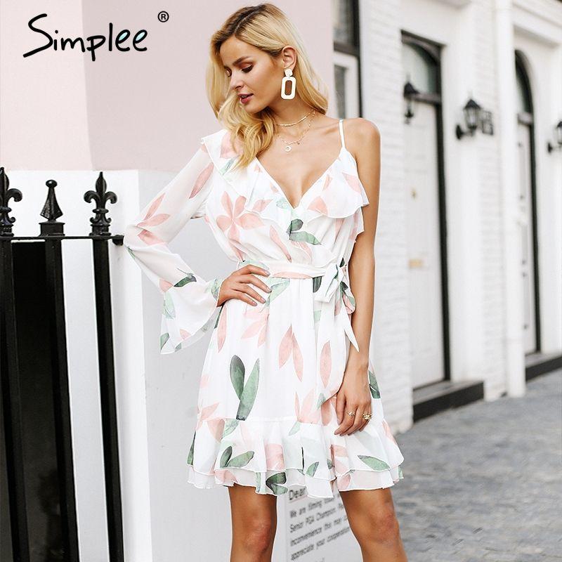 Simplee V neck print bohemian beach dress Irregular ruffles summer dress women 2018 Bandage elegant short dress vestidos