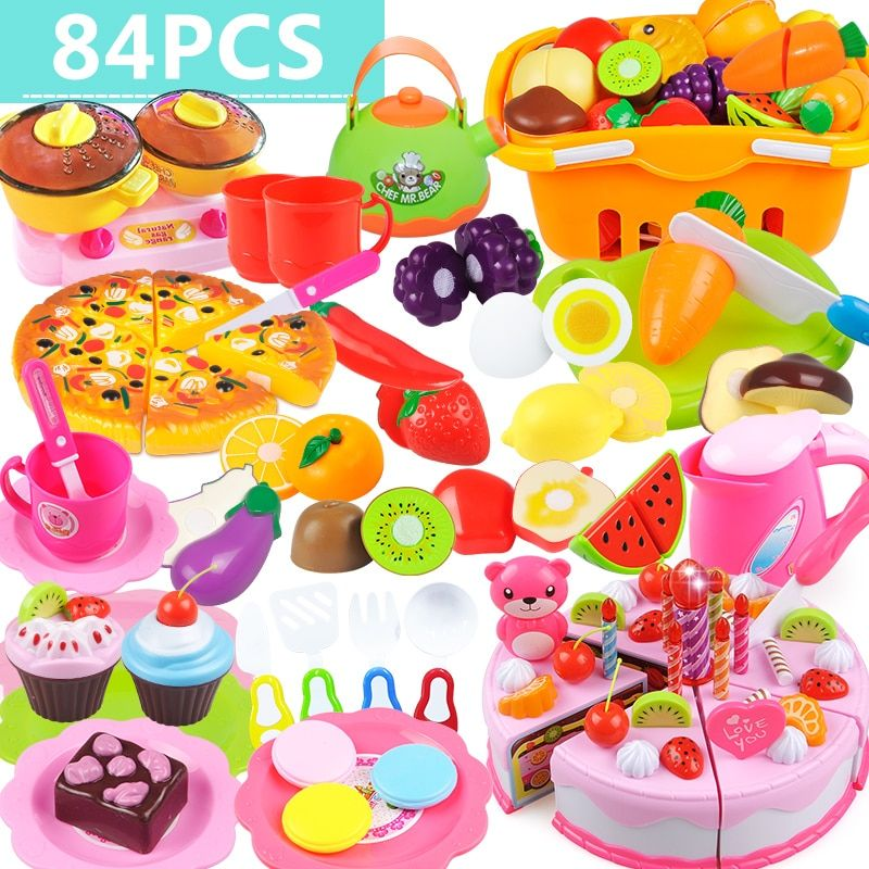84Pcs kids kitchen toys cutting set new fruit vegetable food reusable role playing color toy children's gift