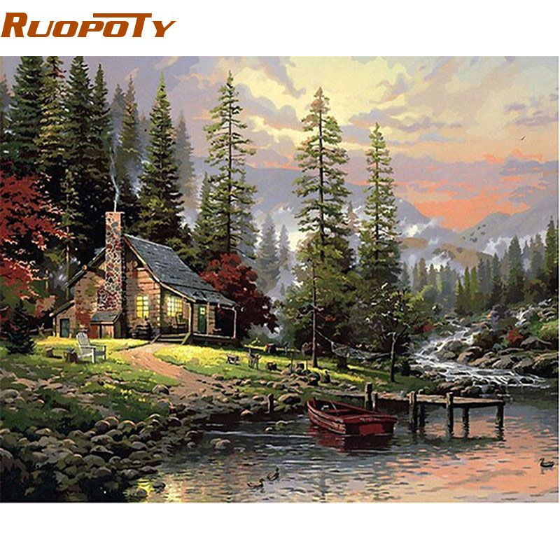 RUOPOTY cadre champ maison paysage peinture à la main par numéro peint à la main peinture à l'huile mur Art photo pour la décoration de la maison 40x50cm