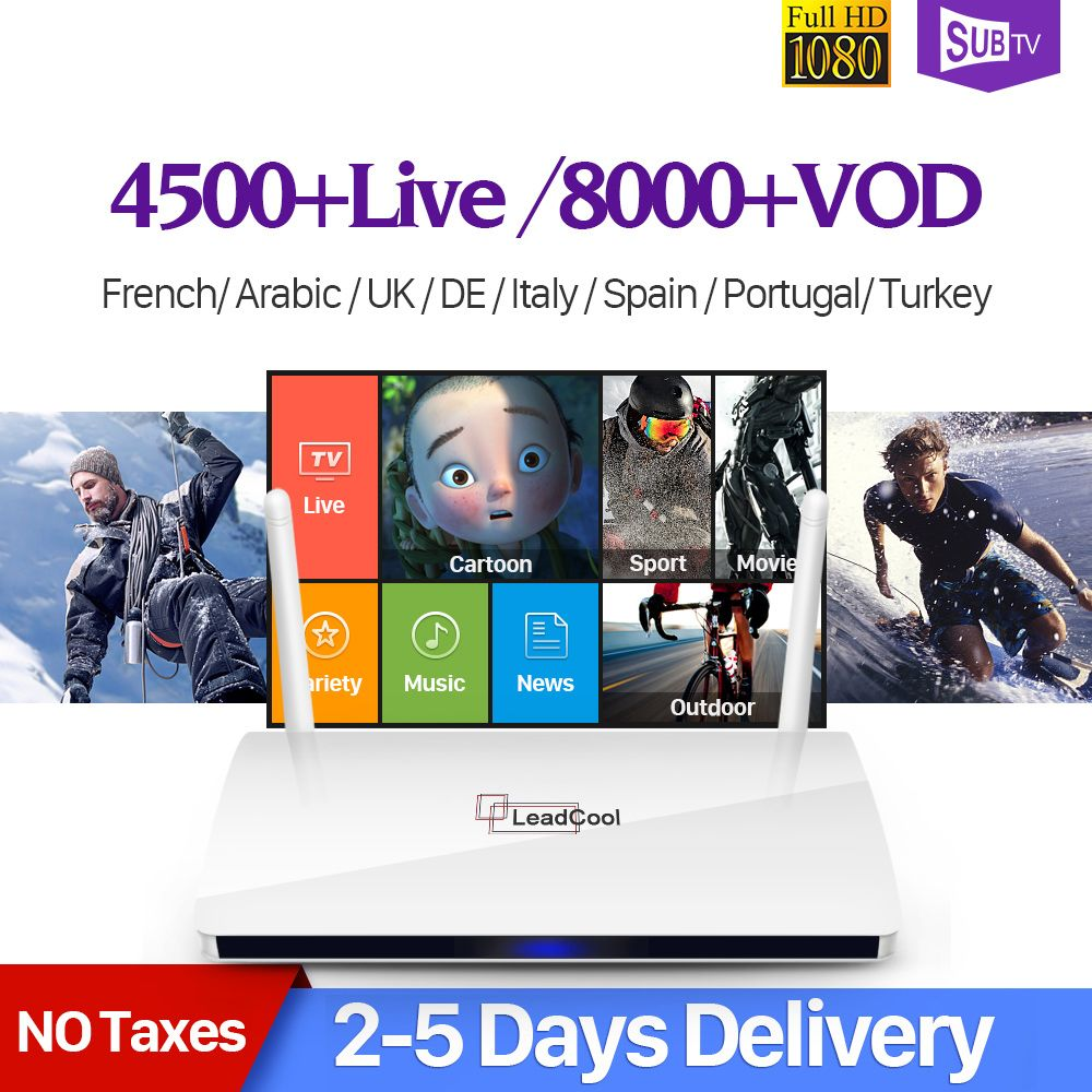 Leadcool France IPTV Box Android 7.1 IP TV 1 Year SUBTV IUDTV QHDTV Code IPTV Spain Italia Dutch Belgium French Arabic IPTV Box