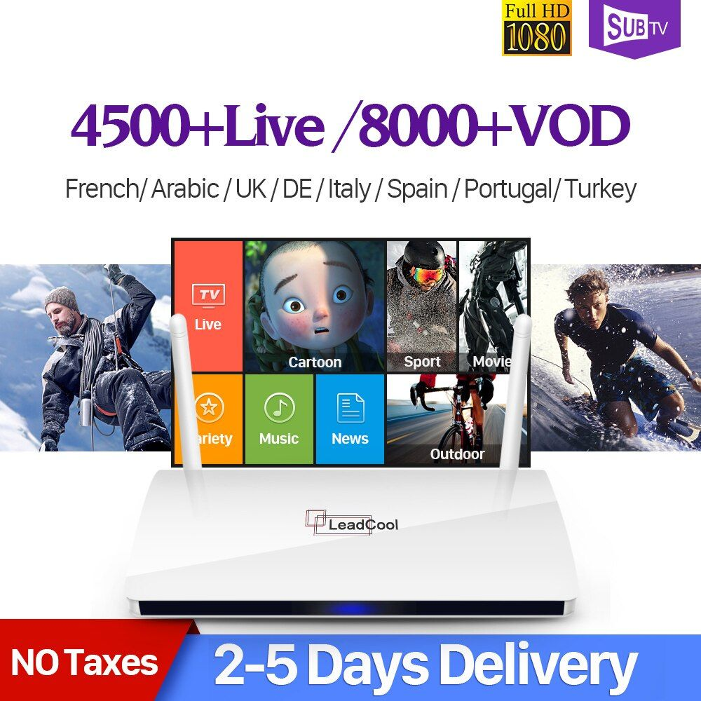 Leadcool Smart Android IPTV Box IP TV 1 Year SUBTV IUDTV QHDTV Code IPTV Europe Italia Belgium French Arabic IPTV Box