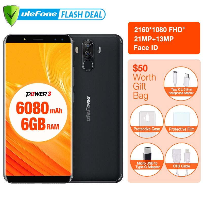 Original Ulefone Power 3 6.0 FHD+Screen 6080mAh Big Battery Smartphone Android 7.1 <font><b>Face</b></font> ID& Touch ID Four Cameras 21MP Camera