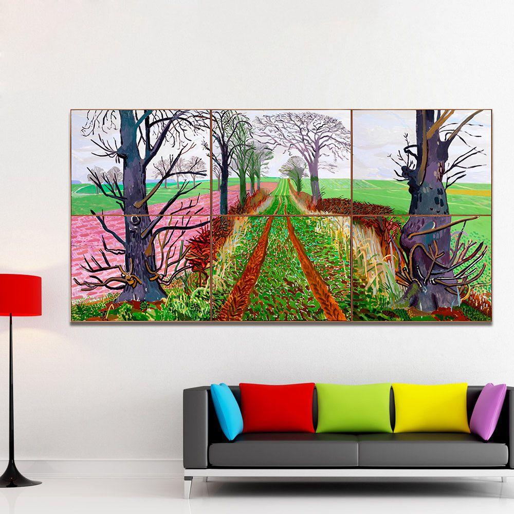 HDARTISAN Landschaft Leinwand Kunst Wandbilder Für Wohnzimmer David Hockney Malerei Straße In Open Country Wohnkultur Gedruckt