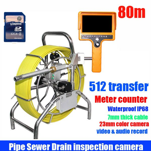 80m Sewer Pipe Inspection Camera System Water Pipe Well Monitoring System With DVR meter counter and 512hz transfer