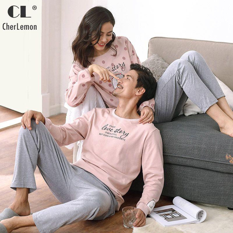 CherLemon Couple Automne Polka Dot & Cartoon Ours Imprimé À Manches Longues Mode Pyjamas Femmes Hommes Coton Nuit Vendu Séparément