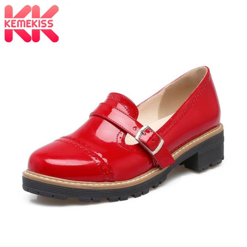 KemeKiss Size 32-43 Woman Candy Colors Platform Women Oxfords British Style Flat Casual Buckle Fashion Slip-on Women Shoes