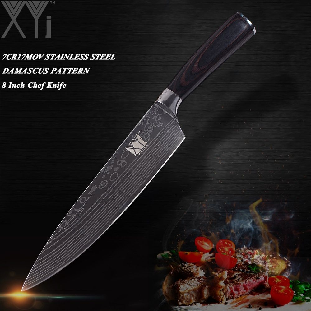 XYj Ultra-thin Blade Stainless Steel Kitchen Knife 7Cr17 Damascus Vein Chef Slicing Santoku Utility <font><b>Paring</b></font> Knife Cooking Tools