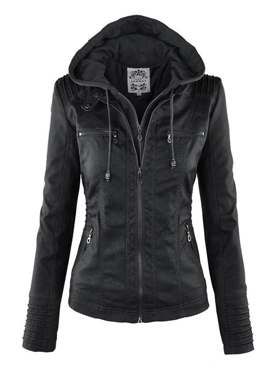 Gothique faux cuir veste sweat à capuche pour femme hiver automne moto veste noir survêtement faux cuir veste en cuir synthétique polyuréthane 2019 manteau chaud