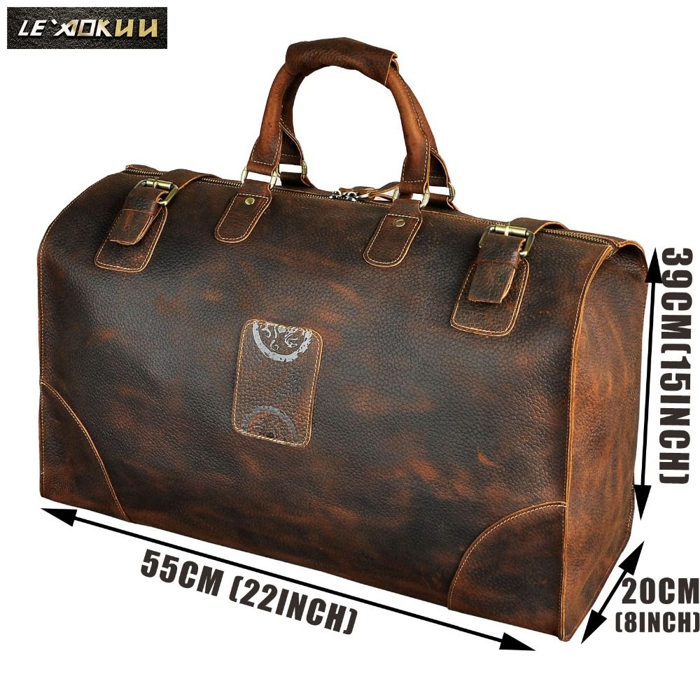 Real Crazy Horse Leather Men Large Capacity Design Duffle Travel Luggage Bag Male Fashion Suitcase Tote HandBag A8151