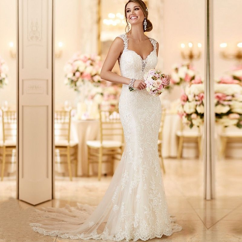 WD112 robe de mariage Long Train Lace Mermaid Wedding Dresses 2018 Custom Made Appliques fishtail Wedding Gown Vestido de noiva