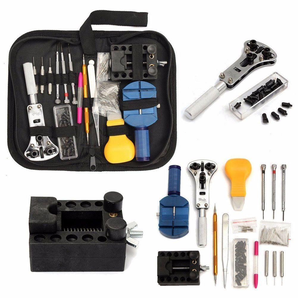 144 pièces outils de montre horloge réparation outil Kit ouvreur lien broche dissolvant ensemble ressort Bar horloger outils