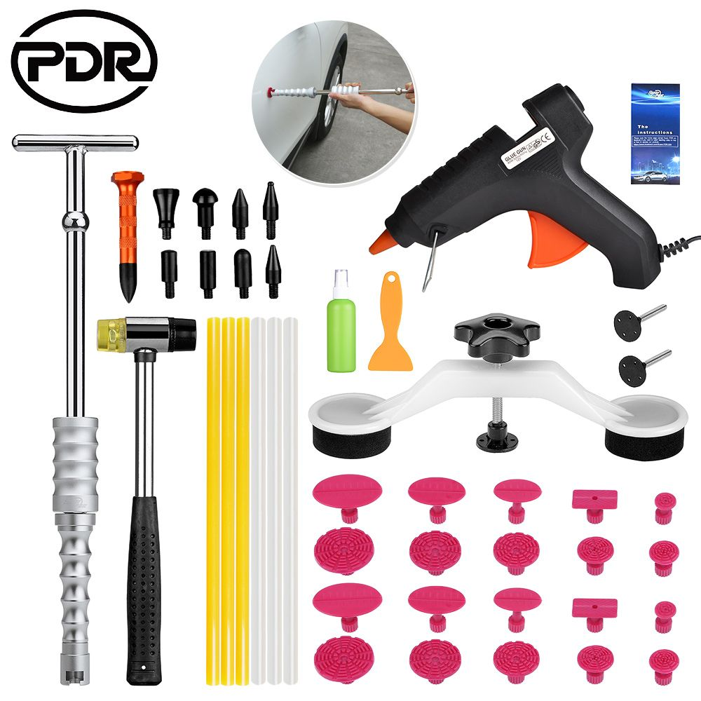 PDR Tools To Remove Dents Auto Repair Tool Set Paintless Dent Repair Tools Dent Removal Dent Puller PDR Glue Tabs Glue Gun