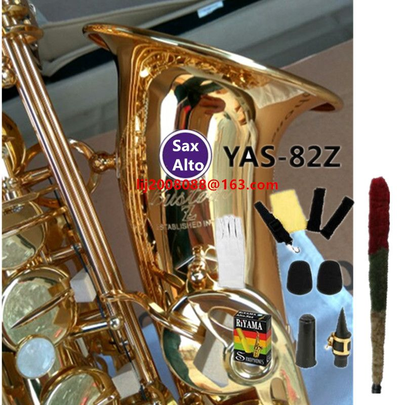 Japan YAS-82z New Custom Alto Saxophone Gold Lacquer Brass Instruments Professional Sax Mouthpiece With Case and Accessories