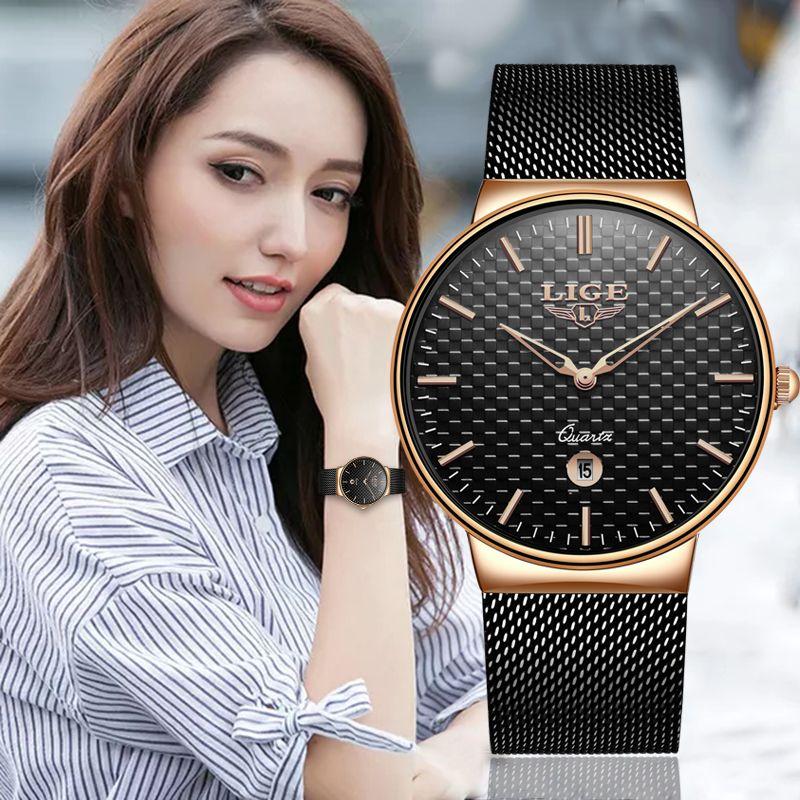 Reloj Mujer LIGE mode marque de luxe femmes Montre à Quartz pour Montre Femme 2019 Femme horloge Relogio Feminino dames Montre en or