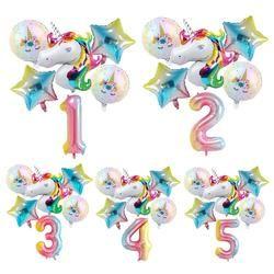 QIFU Радуга Единорог воздушный шар фольга неоновые стикеры воздушные гелиевые цифры баллон фигурки День рождения украшения Дети балон