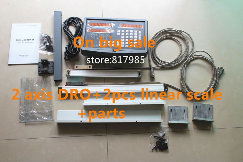 Best Price 2 Axis digital readout DRO with precision linear scale 5um 100-1020mm linear encoder + accessories for installation