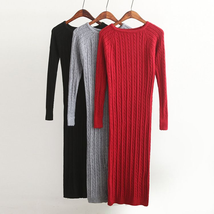 New Twist Women long sweater dress 2018 spring sexy slim Bodycon Dresses Elastic Skinny Split Dress Brief Knitted Dress vestidos